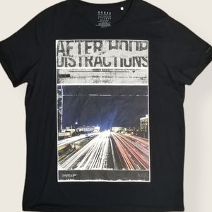 Guess Black Short Sleeve Graphic Xl Tee